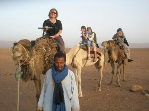 Morocco, TinfouDunes; How Cute are We on the Camels!