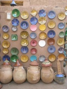Zagora,Morocco; the Wall of Plates at the Potters